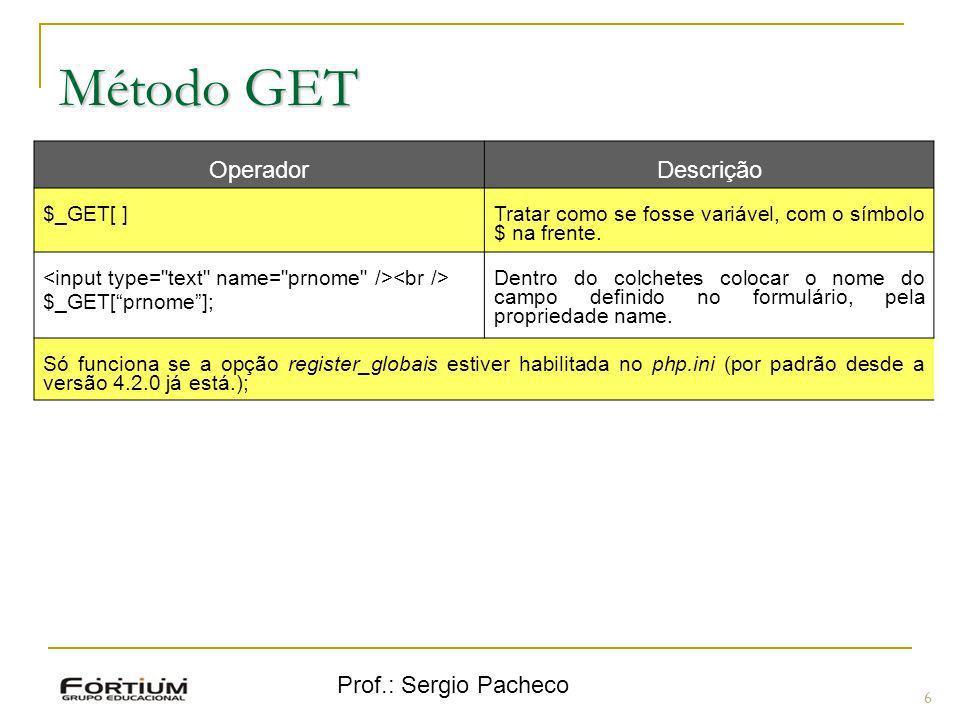 Método GET Operador Descrição Prof.: Sergio Pacheco $_GET[ ]